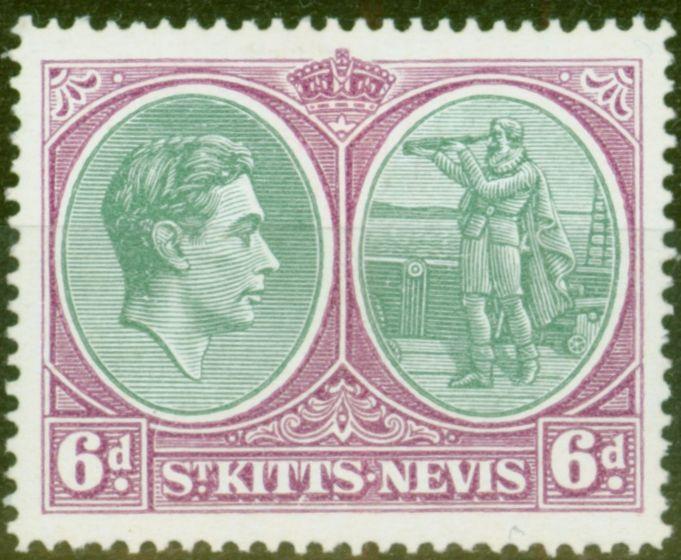 Old Postage Stamp from St Kitts  & Nevis 1950 6d Green & Purple SG74dvar Break in Oval Frames Lines at Left V.F Lightly Mtd Mint