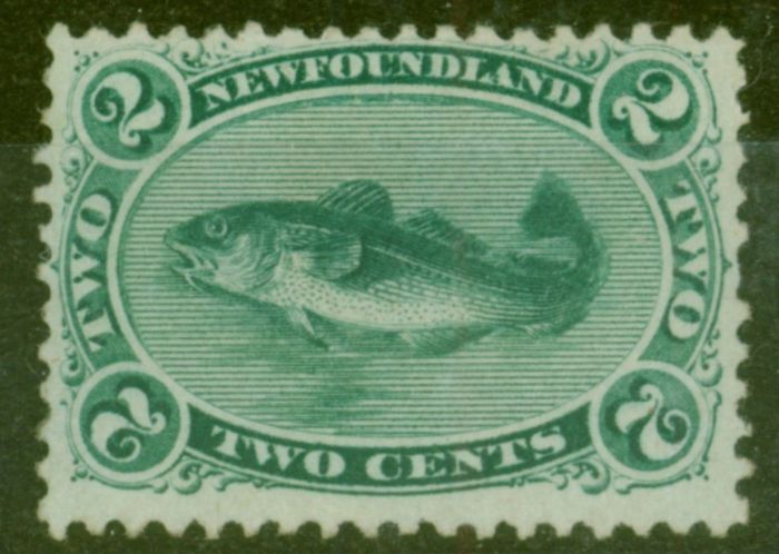 Rare Postage Stamp from Newfoundland 1870 2c Bluish Green SG31 Fine Lightly Mtd Mint Nicely Centred