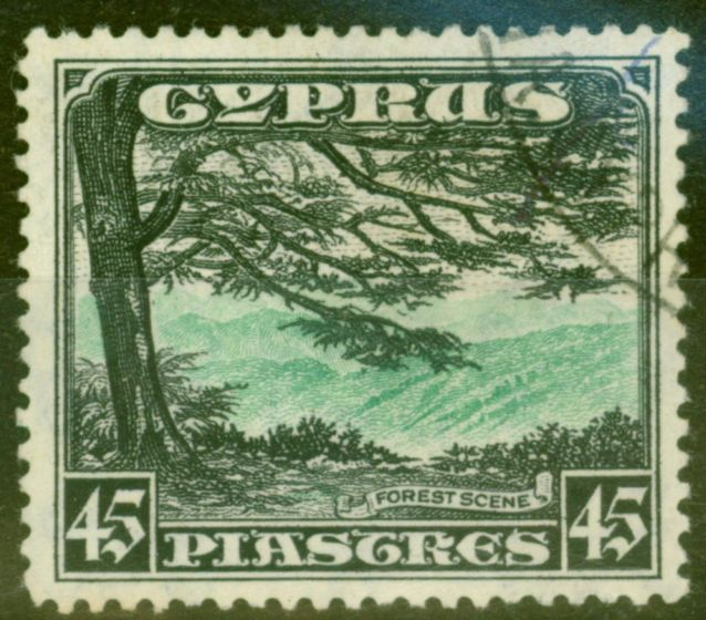 Collectible Postage Stamp from Cyprus 1934 45pi Green & Black SG143 V.F.U