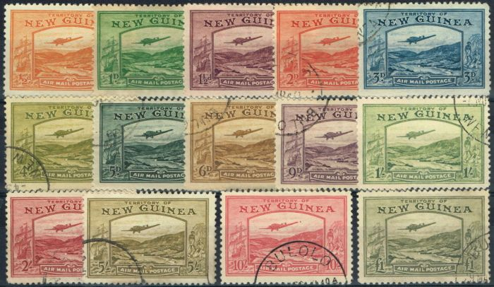 Collectible Postage Stamp from New Guinea 1939 Air set of 14 SG212-225 Superb Used Choice Examples