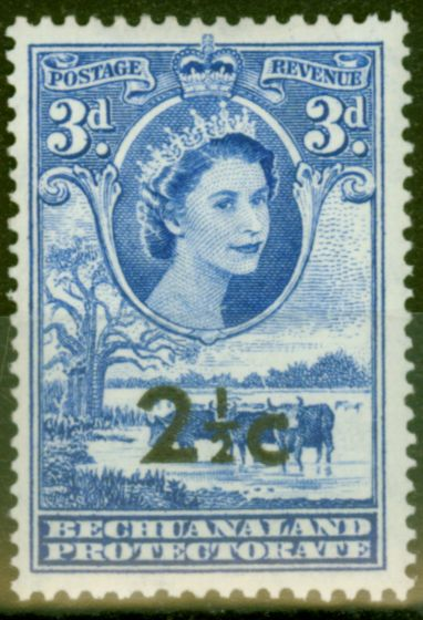 Valuable Postage Stamp from Bechuanaland 1961 2 1/2c on 3d Brt Ultramarine SG160 V.F MNH