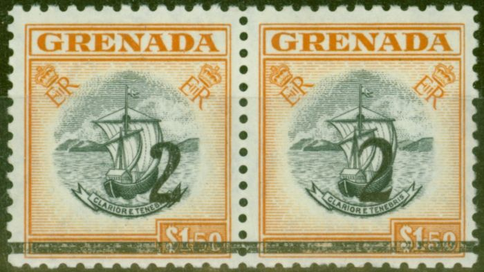 Collectible Postage Stamp from Grenada 1965 2 on $1.50 Black & Orange Setting A & B in a V.F Mtd Mint Pair