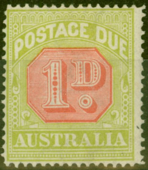 Valuable Postage Stamp from Australia 1918 1d Scarlet & Pale Yellow-Green SGD80 Fine Lightly Mtd Mint
