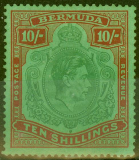 Collectible Postage Stamp from Bermuda 1938 10s Green & Dp Lake-Pale Emerald SG119 Fine MNH