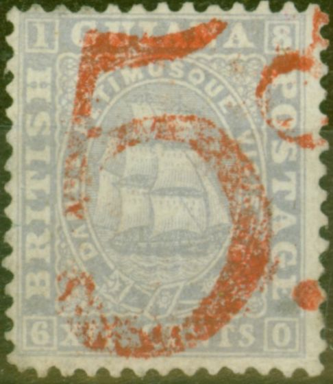 Rare Postage Stamp from British Guiana 1860 5d in Red on 12c Lilac Postage Payable by Colony to Great Brtain For Overseas Letters Fine & Fresh Mtd Mint
