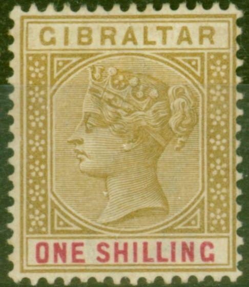 Collectible Postage Stamp from Gibraltar 1898 1s Bistre & Carmine SG45 Fine Lightly Mtd Mint
