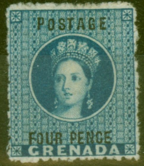 Old Postage Stamp from Grenada 1881 4d Blue SG23 Fine & Fresh Mtd Mint