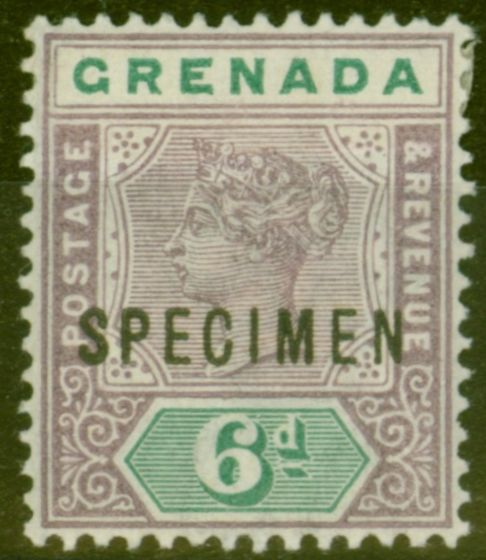 Collectible Postage Stamp from Grenada 1895 6d Mauve & Green Specimen SG53s Fine & Fresh Mtd Mint