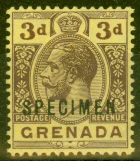 Valuable Postage Stamp from Grenada 1913 3d Purple-Yellow Specimen SG96s Fine & Fresh Mtd Mint