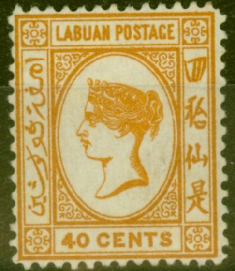 Old Postage Stamp from Labuan 1893 40c Brown-Buff SG47a Fine Mtd Mint (9)