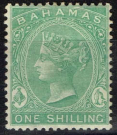 Valuable Postage Stamp from Bahamas 1863 1s Green SG39a Fine Lightly Mtd Mint
