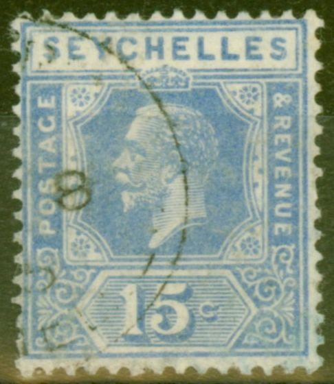 Collectible Postage Stamp from Seychelles 1921 15c Brt Blue SG110 Good Used