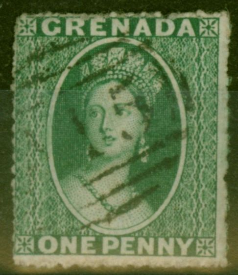 Old Postage Stamp from Grenada 1861 1d Green SG2 Fine Used