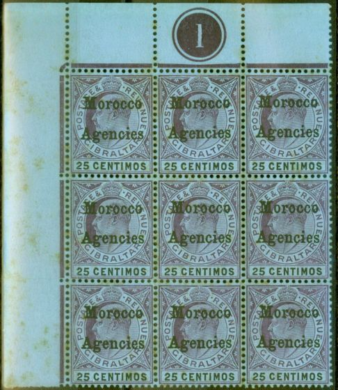 Rare Postage Stamp from Morocco Agencies 1906 25c Purple & Black-Blue SG27 Good MNH Pl 1 Corner Block of 9