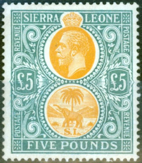 Collectible Postage Stamp from Sierra Leone 1912 £5 Orange & Green SG130 Fine Very Lightly Mtd Mint