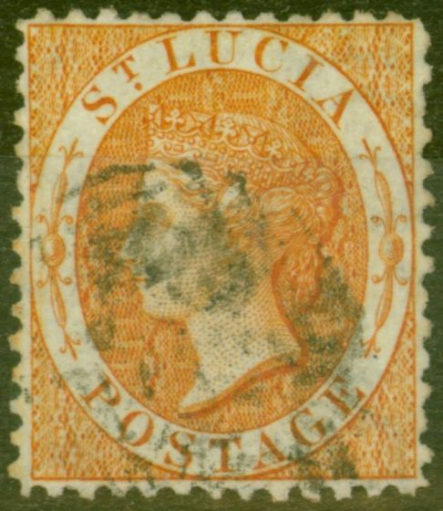 Rare Postage Stamp from St Lucia 1864 Yellow SG12 Fine Used