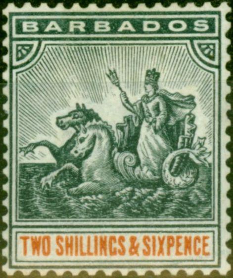 Rare Postage Stamp from Barbados 1892 2s6d Blue-Black & Orange SG114 Fine Mtd Mint Stamp