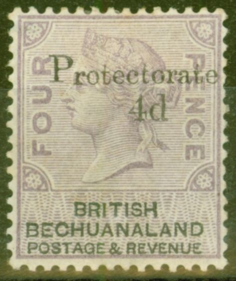 Valuable Postage Stamp from Bechuanaland 1888 4d on 4d Lilac & Black SG44 Fine Mtd Mint