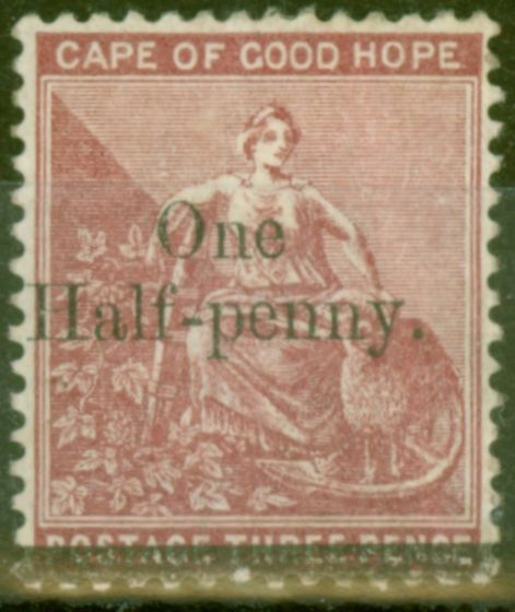 Rare Postage Stamp from Cape of Good Hope 1882 1d on 3d Dp Claret SG47 Good Mtd Mint