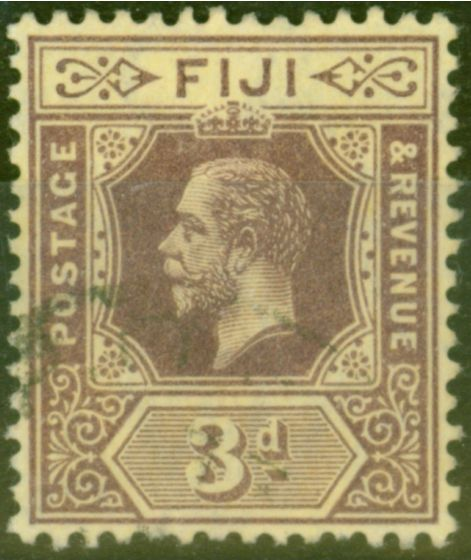 Valuable Postage Stamp from Fiji 1915 3d on Pale Yellow SG130c V.F.U