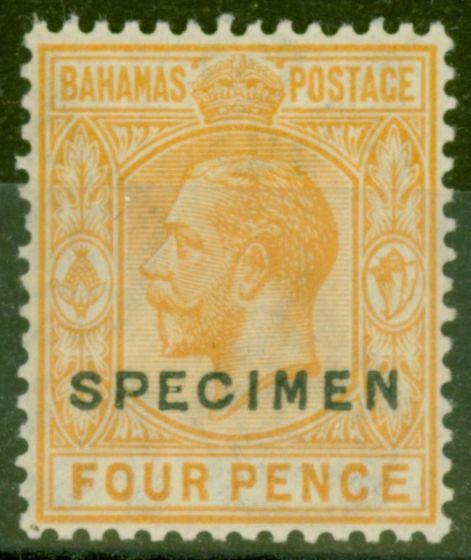 Rare Postage Stamp from Bahamas 1924 4d Orange-Yellow Specimen SG121s Fine Very Lightly Mtd Mint