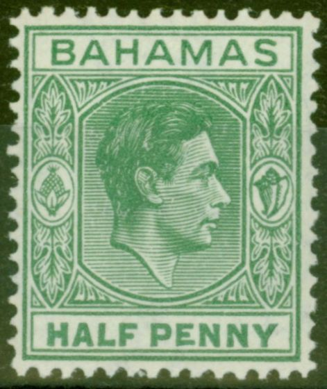 Old Postage Stamp from Bahamas 1938 1/2d Green SG149a Elongated E Fine Lightly Mtd Mint