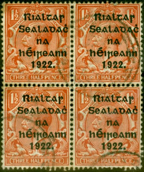Valuable Postage Stamp from Ireland 1922 1 1/2d Chestnut SG32a Fine Used Block of 4