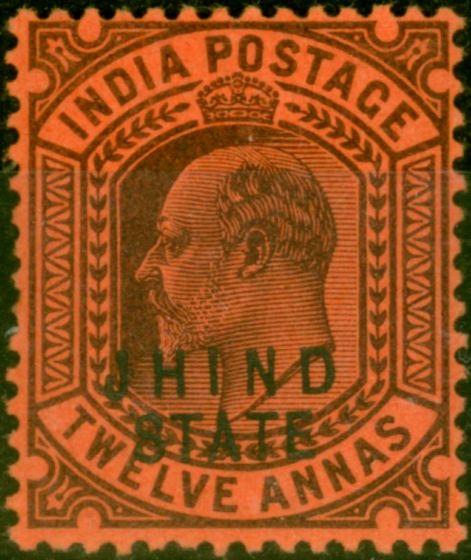 Jind 1905 12a Purple-Red SG54 Fine Mtd Mint