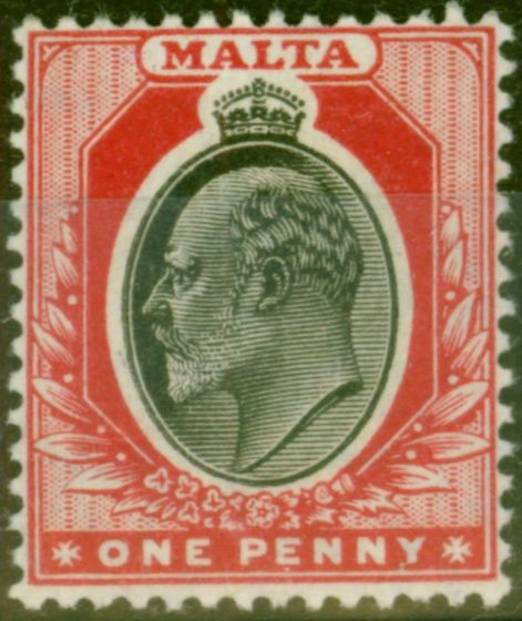 Collectible Postage Stamp from Malta 1905 1d Black & Red SG48 Fine Very Lightly Mtd Mint
