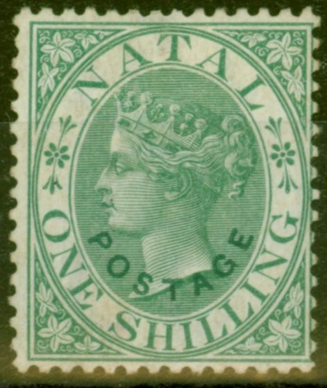 Rare Postage Stamp from Natal 1870 1s Green SG59 Fine & Fresh Unused