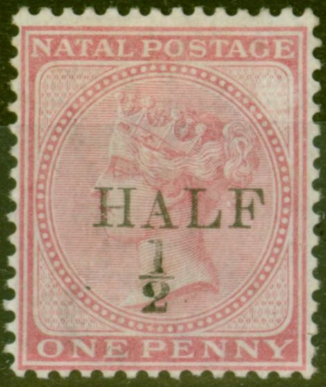 Collectible Postage Stamp from Natal 1877 1/2d on 1d Rose SG86 Type b Fine Mtd Mint