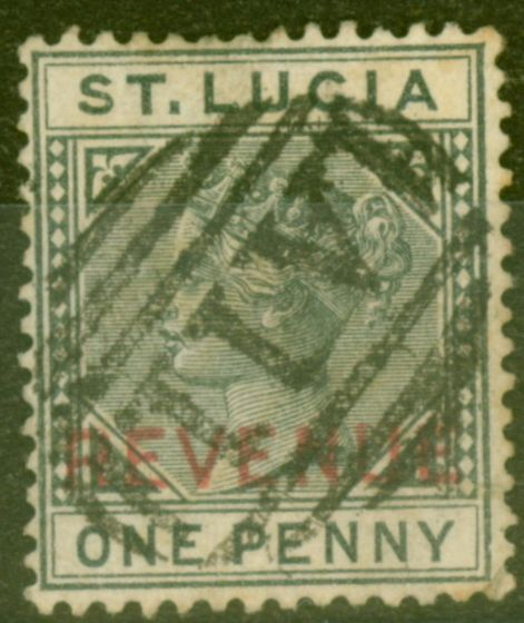 Collectible Postage Stamp from St Lucia 1884 1d Slate SGF27 Ave Used with additional reduced manuscript.