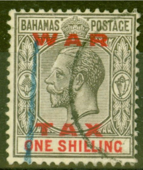 Rare Postage Stamp from Bahamas 1919 1s Grey-Black & Carmine SG104 Fine Used Contemporary Crayon Mark