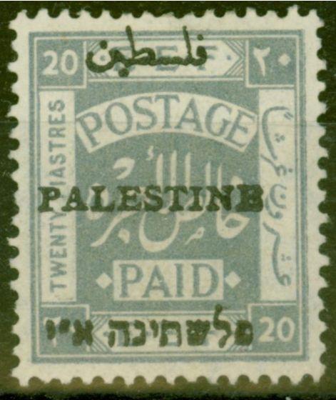 Valuable Postage Stamp from Palestine 1920 20p Pale Grey SG26d Type 4 PALESTINB Error Fine & Fresh Mtd Mint