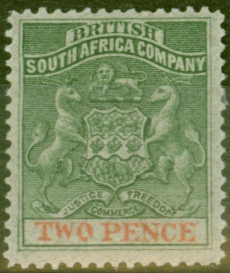 Valuable Postage Stamp from Rhodesia 1892 2d Dp Dull Green & Vermilion SG20 Fine Mtd Mint