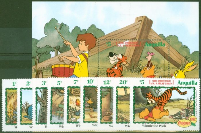 Rare Postage Stamp from Anguilla 1982 A.A Milne Winnie The Pooh set of 10 SG534-MS543 V.F MNH