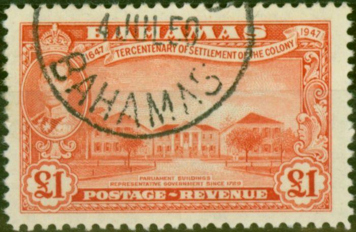 Valuable Postage Stamp from Bahamas 1948 £1 Vermilion SG193 V.F.U