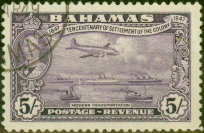 Collectible Postage Stamp from Bahamas 1948 5s Mauve SG191 V.F.U
