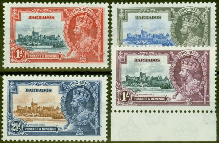 Rare Postage Stamp from Barbados 1935 Jubilee set of 4 SG241-244 Fine & Fresh Lightly Mtd Mint