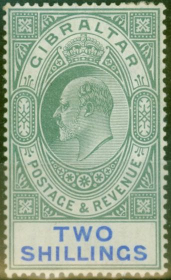 Collectible Postage Stamp from Gibraltar 1903 2s Green & Blue SG52 Fine & Fresh Lightly Mtd Mint (8)
