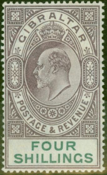 Old Postage Stamp from Gibraltar 1903 4s Dull Purple & Green SG53 Fine & Fresh Lightly Mtd Mint (6)