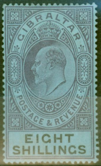 Old Postage Stamp from Gibraltar 1903 8s Dull Purple & Black-Blue SG54 Fine Mtd Mint (5)