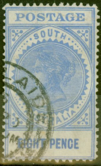Old Postage Stamp from South Australia 1905 8d Brt Ultramarine SG285a Value Closer (15.5mm) Fine Used