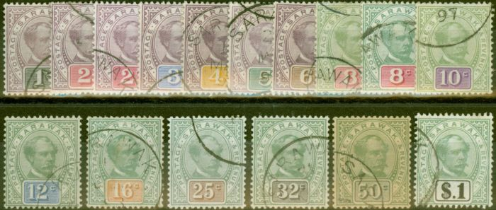 Collectible Postage Stamp from Sarawak 1888-97 Extended set of 16 SG8-21 V.F.U