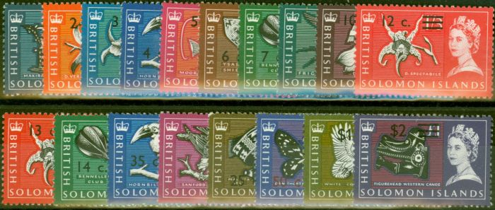 Collectible Postage Stamp from Solomon Islands 1966 set of 18 SG135B-152B Fine Very Lightly Mtd Mint
