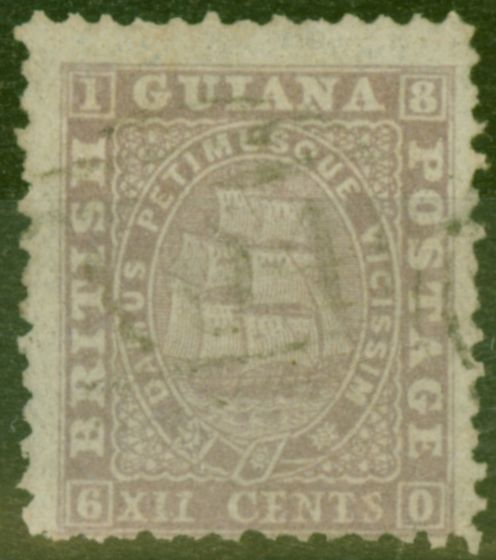 Valuable Postage Stamp from British Guiana 1862 12c Lilac SG49 P.12 Fine Used