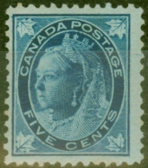 Rare Postage Stamp from Canada 1897 5c Dp Blue-Bluish SG146 Fine Mtd Mint