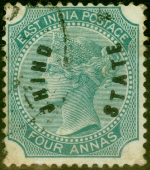 Jind 1885 4a Green SG4 Good Used