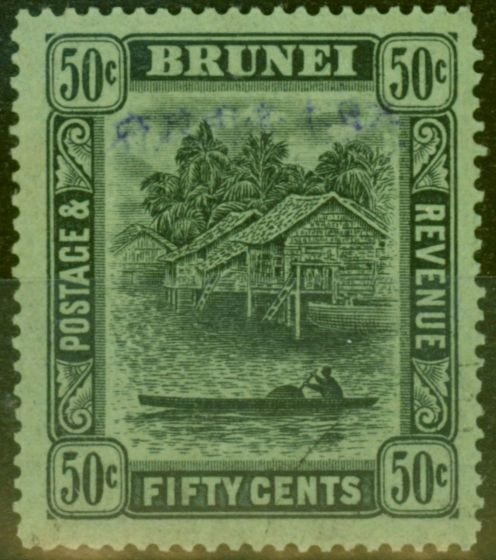 Collectible Postage Stamp from Brunei 1942 Jap Occu 50c Black-Emerald SGJ16 V.F.U Signed MDR in Pencil