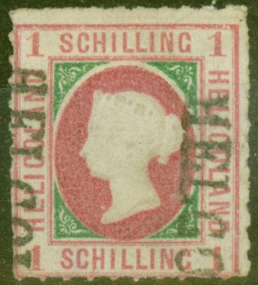 Valuable Postage Stamp from Heligoland 1867 1sch Rose & Blue-Green SG2 V.F.U Hamburg Cancel Schulz Certificate